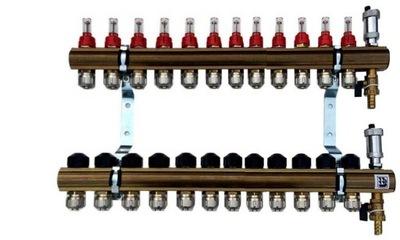 Mosadzné potrubie 12 prietokových upínacích ventilov 632