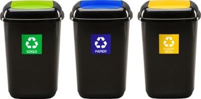 Zestaw koszy do segregacji śmieci odpadów 3 x 12L
