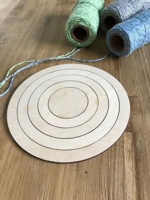 Drewniana obręcz, baza, łapacz, MAKRAMA koło 4 szt
