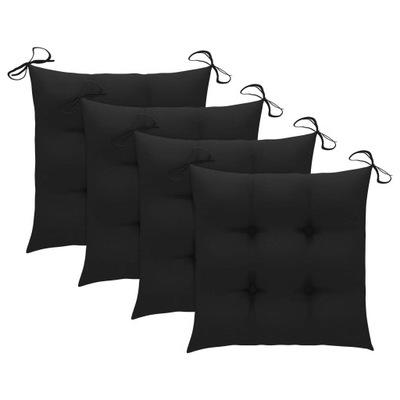 Poduszki na krzesła, 4 szt., czarne, 40x40x7 cm,