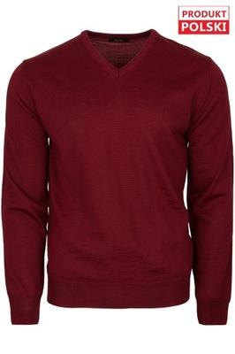 sweter męski serek V-neck bordo M&M rozm. XXL