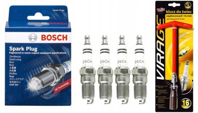 4XŚWIECA ЗАЖИГАНИЯ BOSCH SUPER PLUS +8 FR7DC+КЛЮЧ