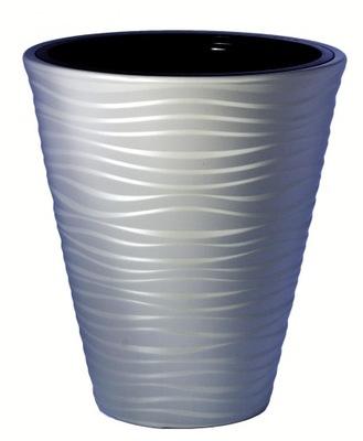 Odporna donica 3D +wkład Sahara 30 h 33,5 j.szary