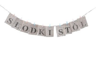 Надпись СЛАДКИЙ стол , гирлянда из джута, бохо свадьба