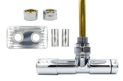 Chrómový regulačný ventil Unico 50 mm + vsuvky Cu + rozety vľavo