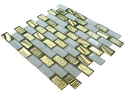 Мозаика стекло плитка белая , золота GOLDEA 102