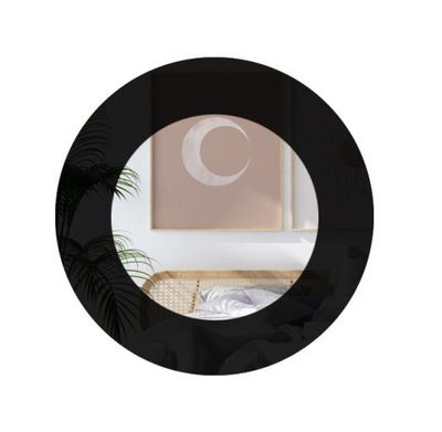 Okrúhle čierne nástenné zrkadlo, 60 cm, vysoká kvalita
