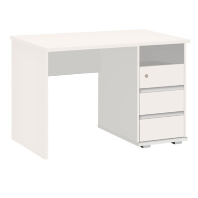 Biurko PRIMUS 1 Białe z 3 szufladami, 110cm