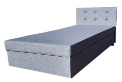 Łóżko KARI welur szare do sypialni hotelowe 80 cm