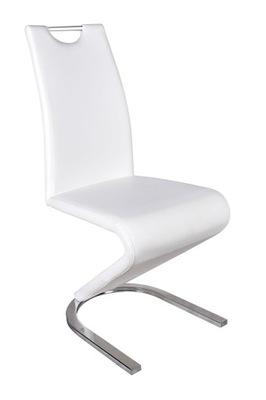 Krzesło na metalowej płozie chrom biała ekoskóra