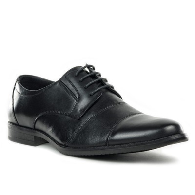 Skórzane czarne buty męskie modne wygodne Wojtyłko