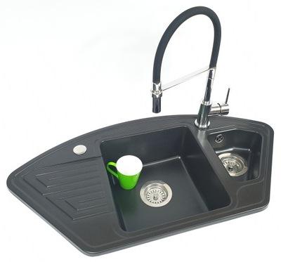 SET rohové žulové umývadlo + výsuvná batéria Š