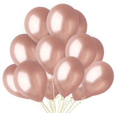 Duże Balony Rose Gold Metaliczne Urodziny 10 szt