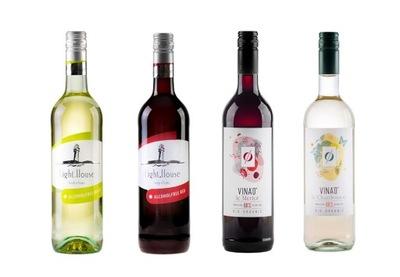 комплект 4 вино БЕЗАЛКОГОЛЬНЫЕ напитки, Полусладкое Ноль %