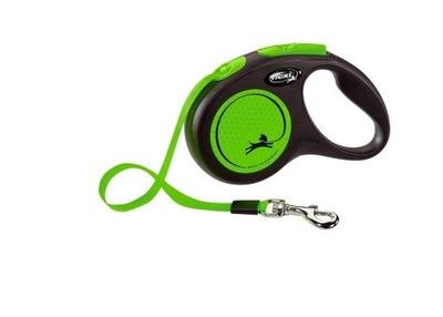 Smycz FLEXI New Neon zielona S 5m do 15kg Taśma