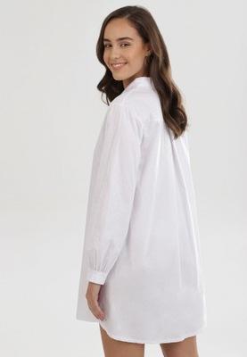Born2Be Biała Koszula damska S/M Koszulowy Gładkie