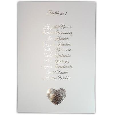 Plan stołów lista gości weselnych wesele A4 ZŁOTE