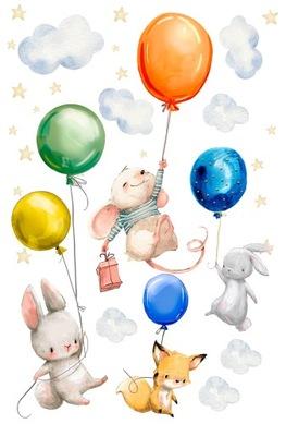 Nálepky na stenu pre detských zajacov, myš, 150 cm