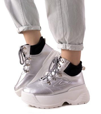 Srebrne sneakersy na wysokiej podeszwie LV111-6 37