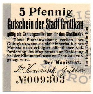GRODKÓW Grottkau Судья 5 Pfg No009303 Слева