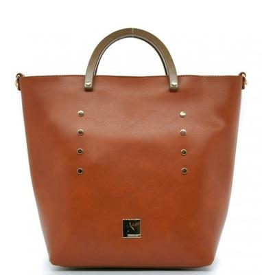 BLUMARI duża torebka torba z ćwiekami 2w1 Y6057 shopper srebrna + kolorowy pasek