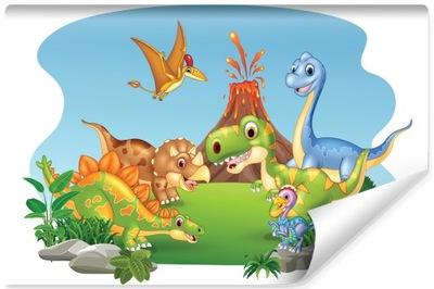 Fototapeta Dziecięca Kolorowe DINOZAURY 3D 368x254