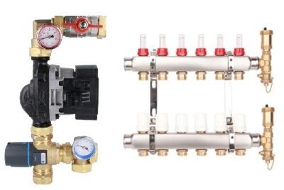 7-obvodové rozdeľovač prietoku + spojky + miešanie