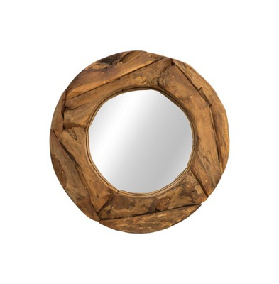 Okrúhle drevené zrkadlové nástenné teakové kúsky