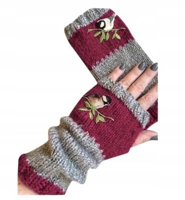 damskie rękawiczki z dzianiny bez palców - Wine
