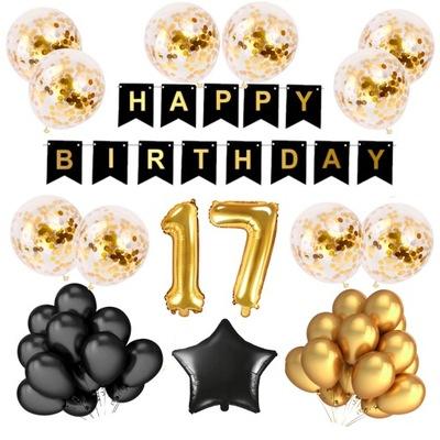 17 Urodziny Balony Zestaw Złoty Konfetti 100 CM