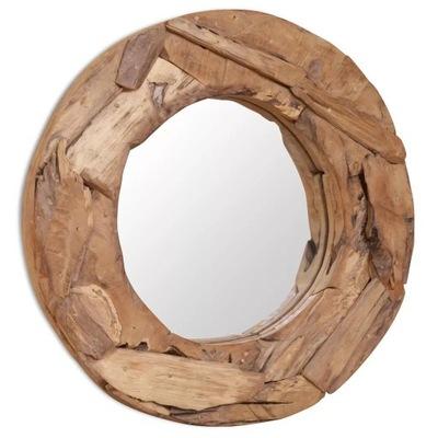 Okrúhle dekoratívne zrkadlo z teakového dreva 60 cm