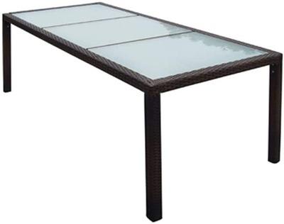 Большой стол 8 человек техноротанг стекло 190см