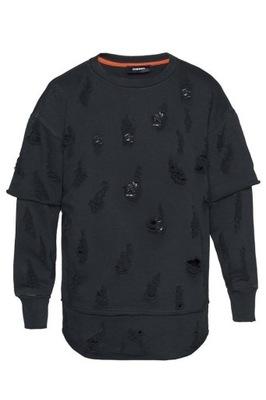 Bluza DIESEL S-COTE męska czarna z dziurami r. M