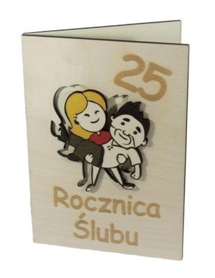 kartka 25 rocznica ślubu PAMIĄTKA 3d prezent