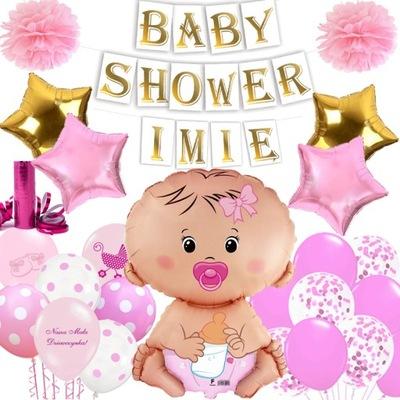 ZESTAW BABY SHOWER + IMIĘ BANER BALONY SERPENTYNA