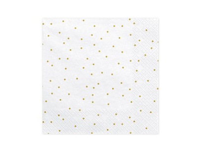 Serwetki białe w złote małe kropki 20 szt Urodziny