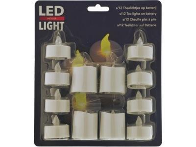 DUŻE Świeczki LED T-Light 12 sztuk - 5x5cm i 4x4cm