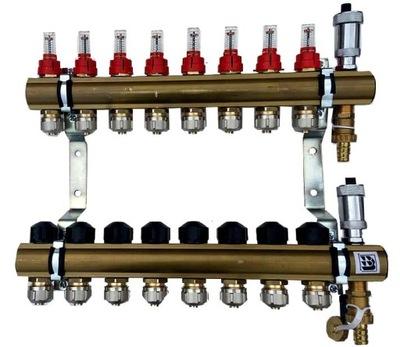 Mosadzné potrubie 8 prietokových upínacích ventilov 628