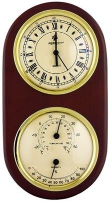 Mały Drewniany Zegar z Termometrem i Higrometrem