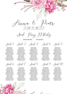 Plan stołów weselnych dla Gości Plakat 50x70cm