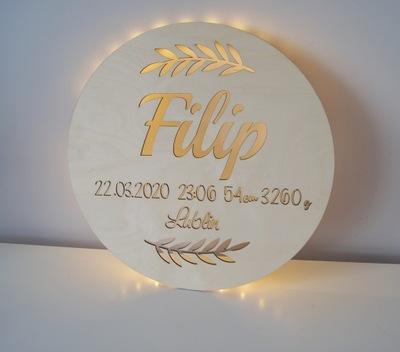 лампа ночная LED 37 см  personalizowa