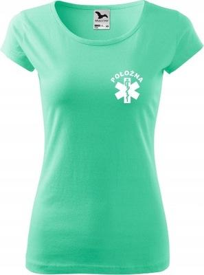 Damska koszulka medyczna PURE z nadrukiem POŁOŻNA