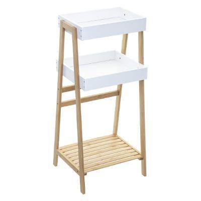 Regał biały 3 poziomy półka bambus