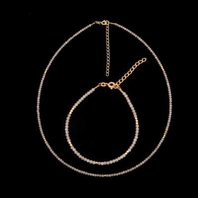 Choker z bransoletką kryształ górski 2mm 925