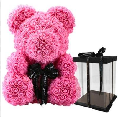 Miś z róż 40 cm PREZENT ROSE BEAR walentynki