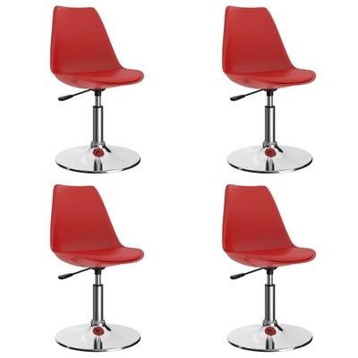 Obrotowe krzesła stołowe, 4 szt., czerwone, sztucz