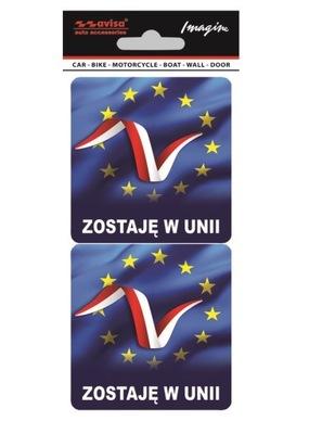 НАКЛЕЙКА НА АВТОМОБИЛЬ ZOSTAJE W UNII FLAGA 2 SZT.