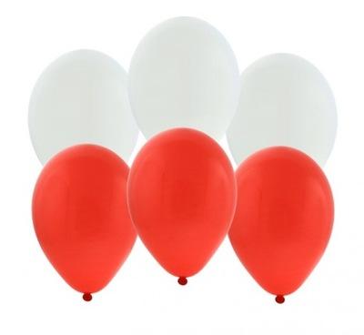 BALONY KIBICA na mecz białe czerwone 25cm 10 sztuk