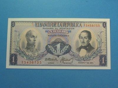 Колумбия Банкнота 1 Песо 1971 UNC P-404e Птица