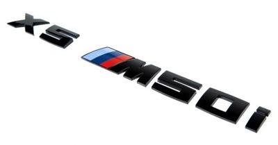 BMW X5 M50i emblemat logo znaczek napis czarny